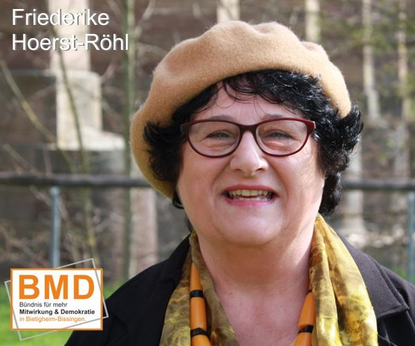 BMD Friedericke Hoerst-Röhl, Kadidatin des Bündnis Mitwirkung Demokratie zur Gemeinderatswahl Bietigheim-Bissingen 2019
