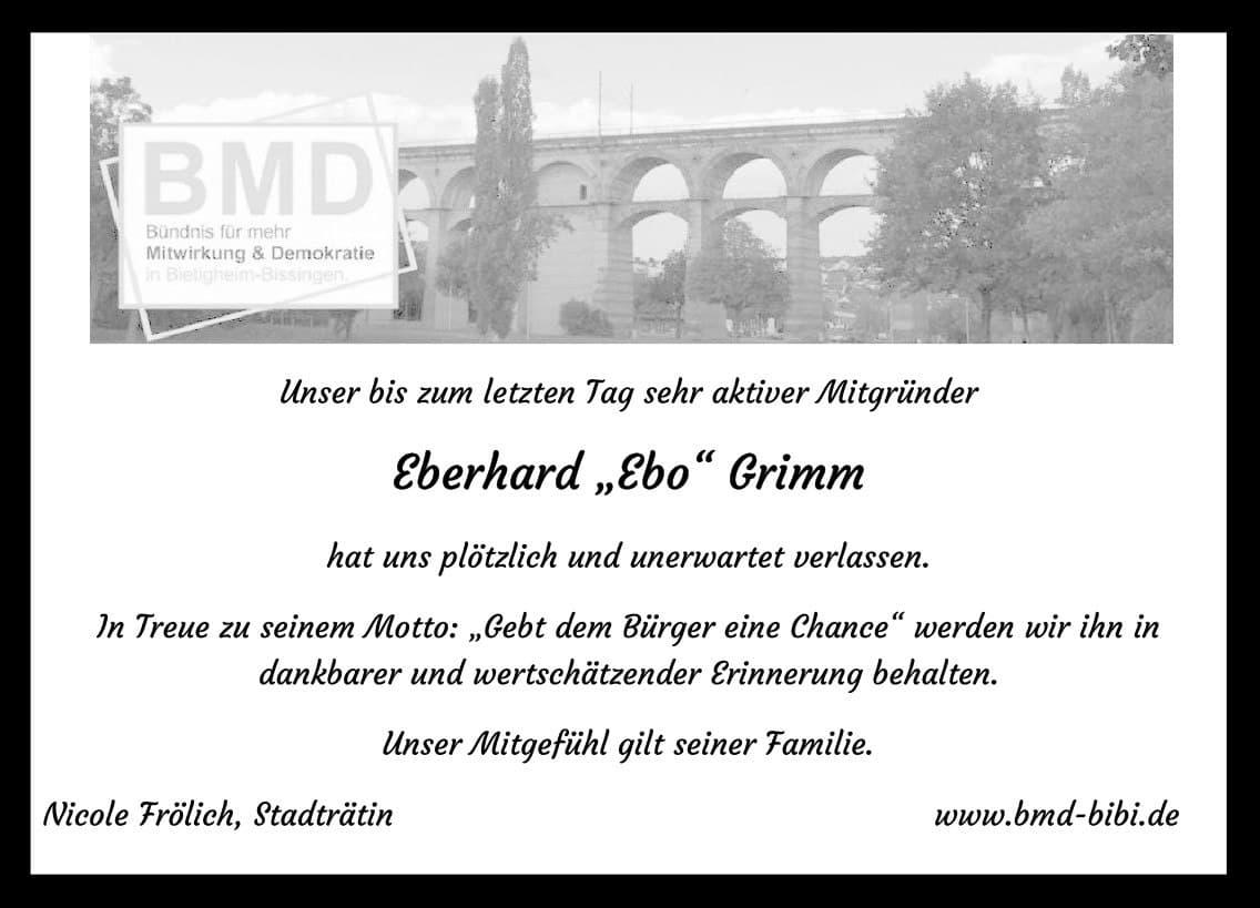 "Nachruf Eberhard ""Ebo"" Grimm"